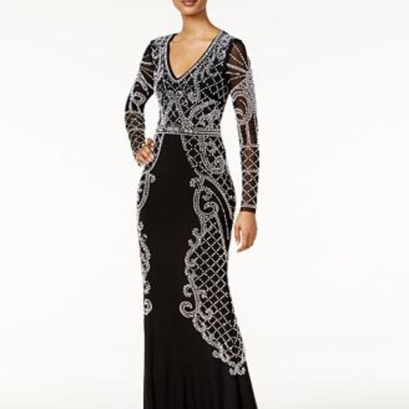 Xscape Beaded Illusion Gown Blacksilver Size 12 | Poshmark